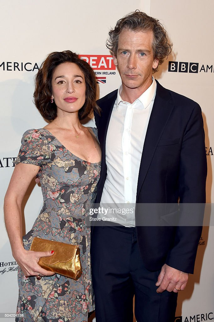 Actor Ben Mendelsohn (R) and journalist Emma Forrest attend the BAFTA Los Angeles Awards Season Tea at Four Seasons Hotel Los Angeles at Beverly Hills on January 9, 2016 in Los Angeles, California.