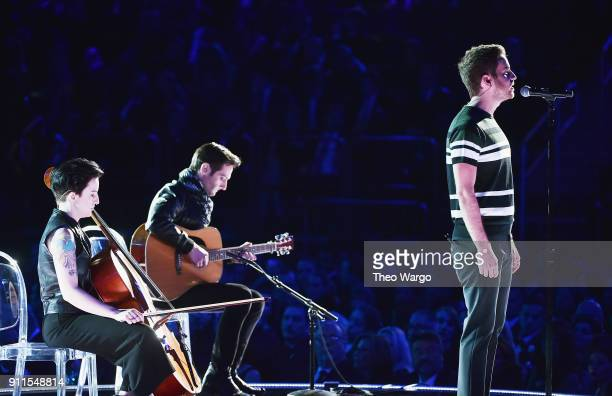 Actor Ben Platt performs onstage with cellist Adele Stein and guitarist Justin Goldner during the 60th Annual GRAMMY Awards at Madison Square Garden...