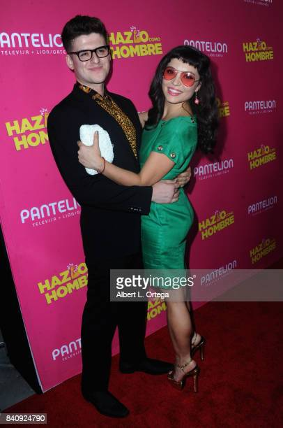 Actor Ben Rodriguez and actress Veronica Osorio arrive for the Premiere Of Pantelion Films' Hazlo Como Hombre held at ArcLight Cinemas on August 29...