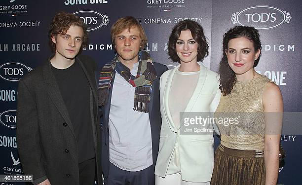 Actor Ben Rosenfield musician/actor Johnny Flynn actress Anne Hathaway and director Kate BarkerFroyland attend The Cinema Society Tod's host the...