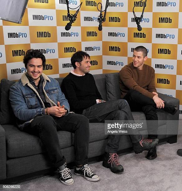 Actor Ben Schnetzer director Andrew Neel and actor/singer Nick Jonas in The IMDb Studio In Park City Utah Day One Park City on January 22 2016 in...