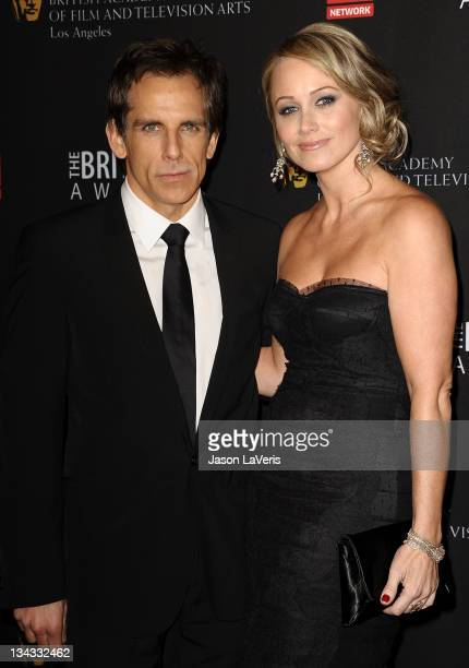 Actor Ben Stiller and actress Christine Taylor attend the BAFTA Los Angeles Britannia Awards at The Beverly Hilton hotel on November 30, 2011 in...