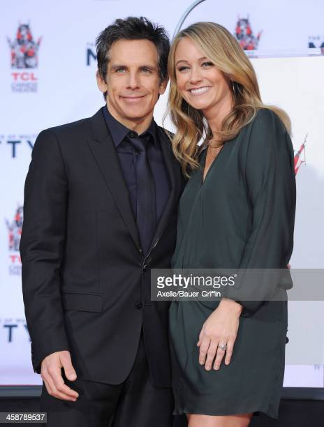 Actor Ben Stiller and actress Christine Taylor attend the hand and footprint ceremony honoring Ben Stiller held at TCL Chinese Theatre on December 3...