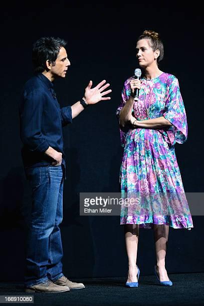 Actor Ben Stiller and actress Kristen Wiig joke around during a Twentieth Century Fox presentation to promote the upcoming film The Secret Life of...
