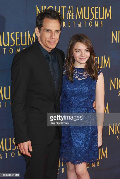 Actor Ben Stiller and daughter Ella Olivia Stiller attend the Night At The Museum Secret Of The Tomb New York premiere at the Ziegfeld Theater on...