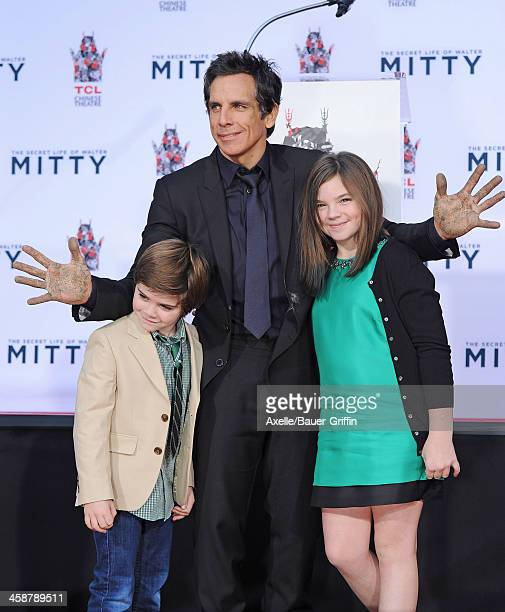 Actor Ben Stiller and his children Quinlin Stiller and Ella Stiller attend the hand and footprint ceremony honoring Ben Stiller held at TCL Chinese...