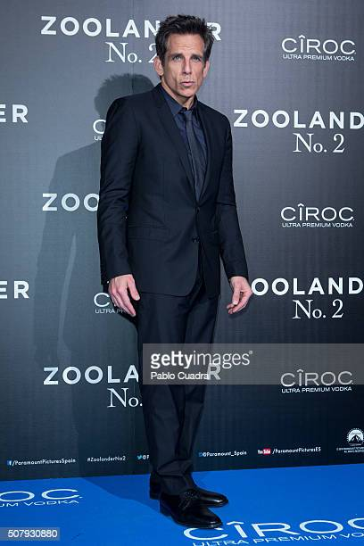 Actor Ben Stiller attends the 'Zoolander No2' premiere at the Capitol Cinema on February 1 2016 in Madrid Spain