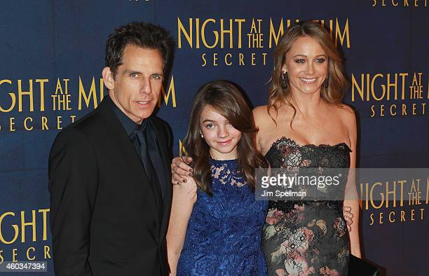 Actor Ben Stiller daughter Ella Olivia Stiller and actress Christine Taylor attend the Night At The Museum Secret Of The Tomb New York premiere at...