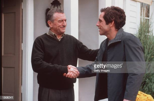 Actor Ben Stiller Greg Focker meets his girlfriend''s father Robert De Niro Jack Byrnes in Universal Pictures Meet the Parents