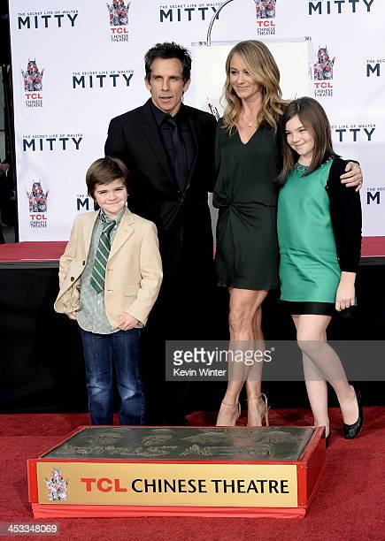 Actor Ben Stiller, his wife actress Christine Taylor and their children Quinlin Stiller and Ella Stiller pose as Ben is honored with a hand and...
