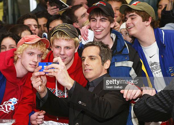 "Actor Ben Stiller mixes with fans while attending the European premiere of ""Starsky And Hutch"" on March 9, 2004 in Munich, Germany."