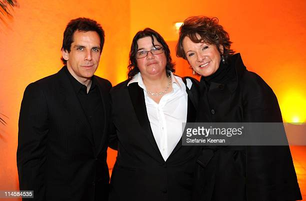 Actor Ben Stiller photographer Catherine Opie and Director of Hammer Museum Ann Philbin attend the Hammer Museum's Gala in the Garden sponsered by...