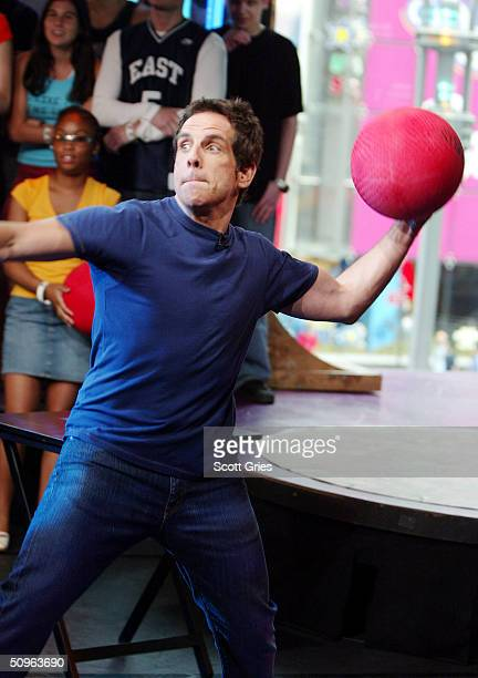 Actor Ben Stiller plays dodgeball during an appearance on MTV's Total Request Live at the MTV Times Square Studios June 15 2004 in New York City