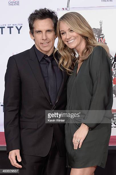 Actor Ben Stiller poses with his wife actress Christine Taylor as he is honored with a hand and footprint ceremony at TCL Chinese Theatre on December...