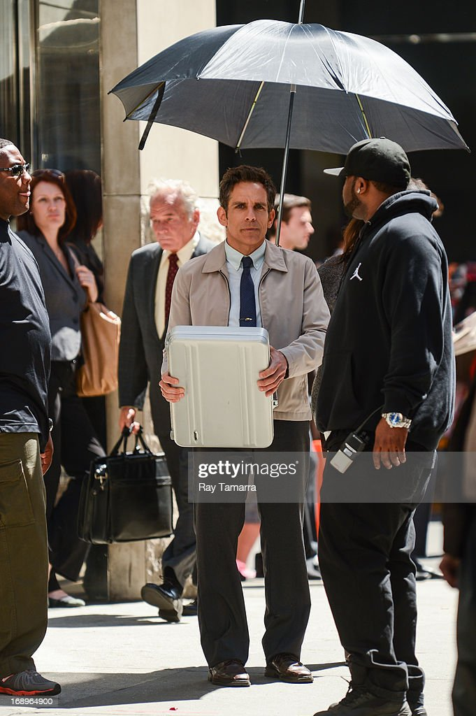 Actor Ben Stiller rehearses a scene at the 'The Life and Times of Walter Mitty' movie set in Midtown Manhattan on May 17, 2013 in New York City.