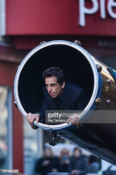 Actor Ben Stiller rehearses being shot out of a cannon at 'Late Show With David Letterman' at Ed Sullivan Theater on March 23 2015 in New York City