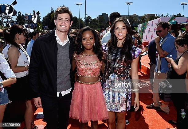 Actor Ben Winchell with Gymnast Gabby Douglas and actress Ana Villafane attend Nickelodeon Kids' Choice Sports Awards 2014 at UCLA's Pauley Pavilion...