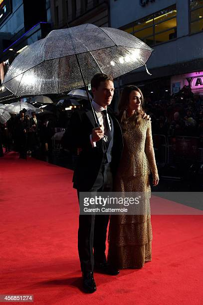 Actor Benedict Cumberbatch and actress Keira Knightley attend the opening night gala screening of The Imitation Game during the 58th BFI London Film...