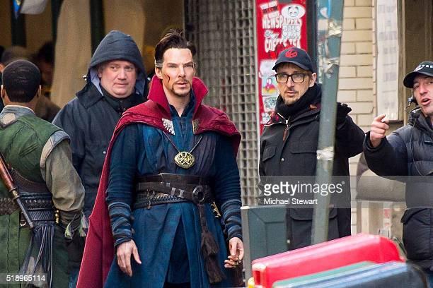 Actor Benedict Cumberbatch and director Scott Derrickson are seen filming Doctor Strange on April 3 2016 in New York City