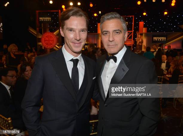Actor Benedict Cumberbatch and filmmaker George Clooney attend the 2013 BAFTA LA Jaguar Britannia Awards presented by BBC America at The Beverly...