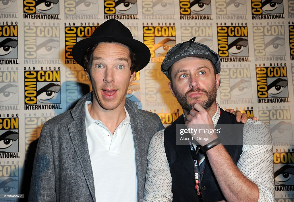 Actor Benedict Cumberbatch (L) and moderator Chris Hardwick attend the 'Sherlock' panel during Comic-Con International 2016 at San Diego Convention Center on July 24, 2016 in San Diego, California.