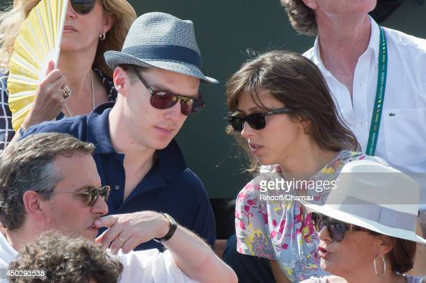 Actor Benedict Cumberbatch and Sophie Hunter attend the Men's Final of Roland Garros French Tennis Open 2014 Day 15 on June 8 2014 in Paris France