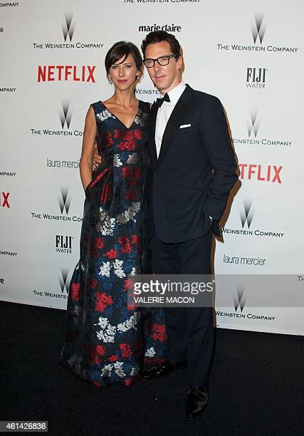 Actor Benedict Cumberbatch and theater director Sophie Hunter arrives at The Weinstein Company Netflix 2015 Golden Globes After Party in Beverly...