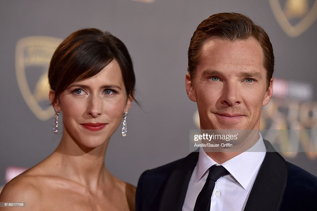 Actor Benedict Cumberbatch and wife Sophie Hunter arrive at the Los Angeles Premiere of 'Doctor Strange' on October 20, 2016 in Hollywood, California.