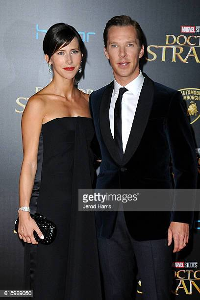 Actor Benedict Cumberbatch and wife Sophie Hunter arrive at the Premiere of Disney and Marvel Studios' 'Doctor Strange' on October 20, 2016 in...