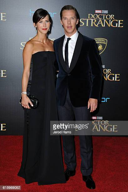 Actor Benedict Cumberbatch and wife Sophie Hunter arrive at the Premiere of Disney and Marvel Studios' 'Doctor Strange' on October 20 2016 in...