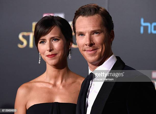 Actor Benedict Cumberbatch and wife Sophie Hunter Premiere Of Disney And Marvel Studios' Doctor Strange on October 20 2016 in Hollywood California
