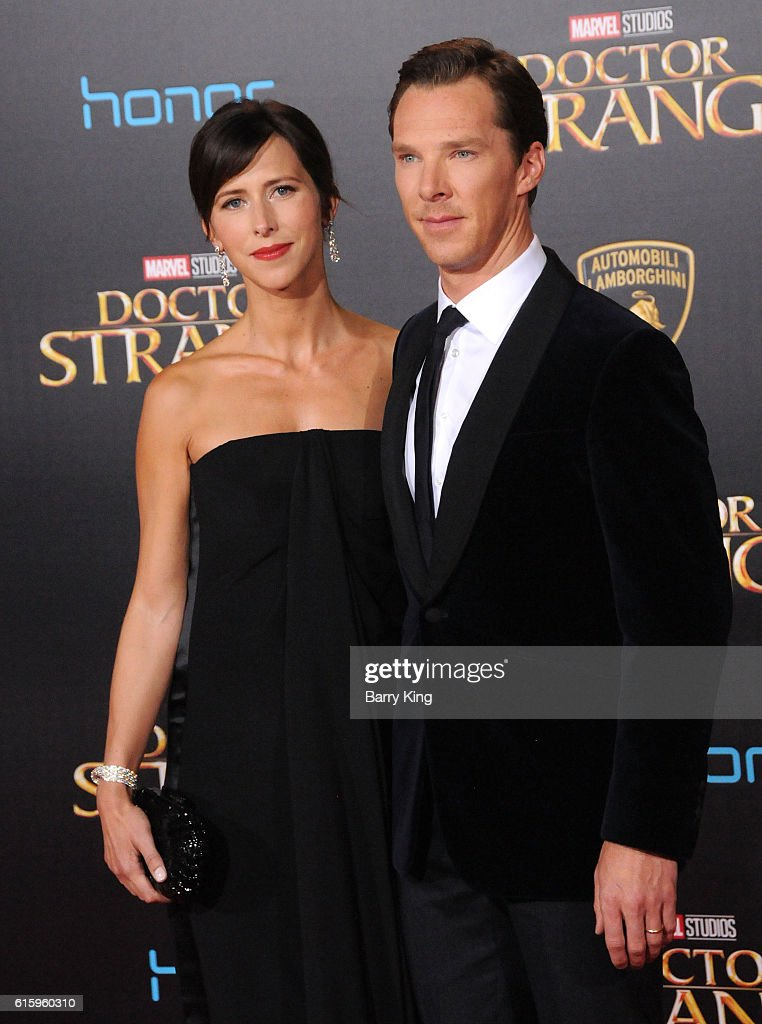Actor Benedict Cumberbatch (R) and wife theater director Sophie Hunter attend the premiere of Disney and Marvel Studio's' Doctor Strange' at the El Capitan Theatre on October 20, 2016 in Hollywood, California.