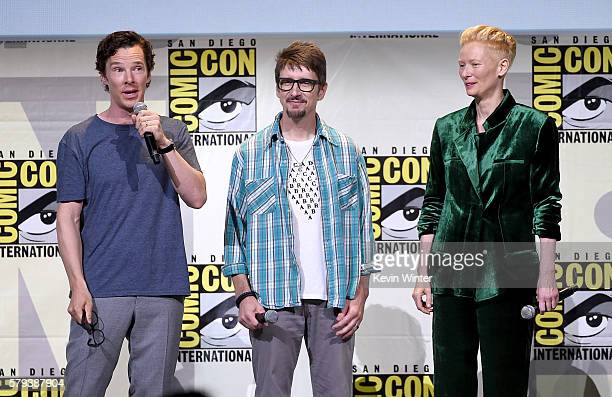 Actor Benedict Cumberbatch, director Scott Derrickson, and actor Tilda Swinton attend the Marvel Studios presentation during Comic-Con International...