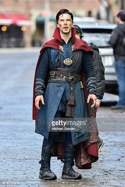 Actor Benedict Cumberbatch is seen filming Doctor Strange on location on April 2 2016 in New York City