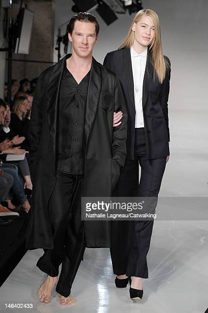 Actor Benedict Cumberbatch on the runway at the Spencer Hart Spring Summer 2013 fashion show during London Menswear Fashion Week on June 15 2012 in...