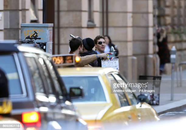 Actor Benedict Cumberbatch shooting scenes in Glasgow which has been transformed into New York City for the filming of the TV show Melrose