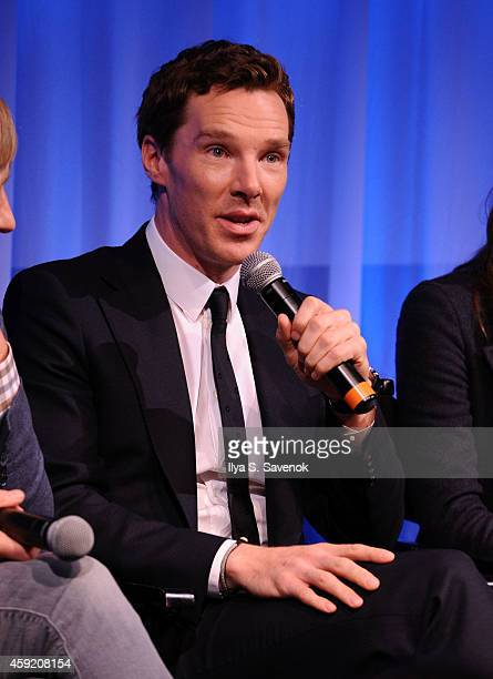 Actor Benedict Cumberbatch speaks at the official Academy members screening of The Imitation Game on November 18 2014 in New York City