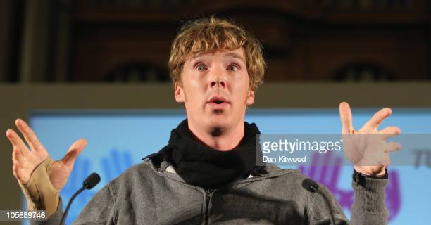 Actor Benedict Cumberbatch speaks to members of various public sector unions in the UK who are against the proposed public spending cuts at a rally...