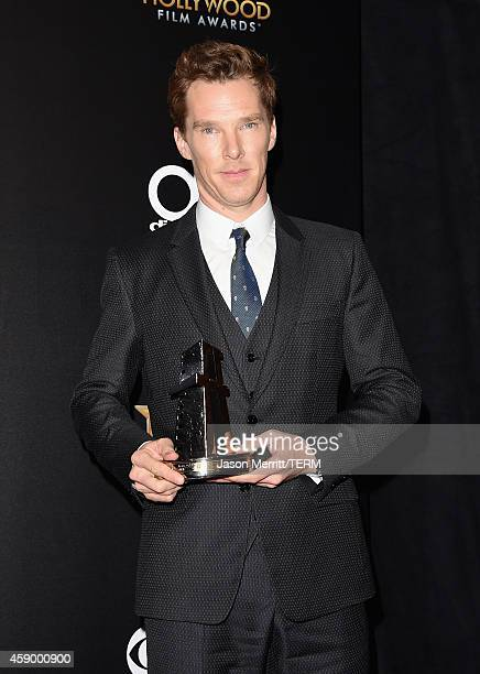 Actor Benedict Cumberbatch winner of Hollywood Actor for 'The Imitation Game' poses in the press room during the 18th Annual Hollywood Film Awards at...