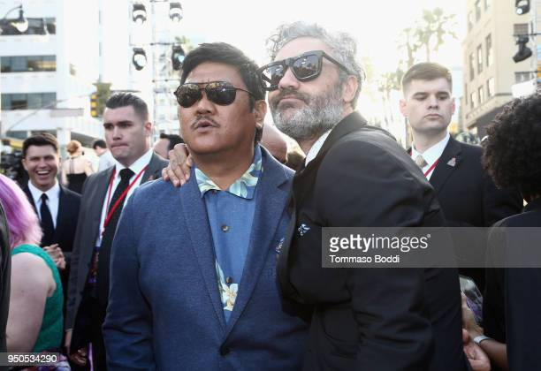 Actor Benedict Wong and director Taika Waititi attend the Los Angeles Global Premiere for Marvel Studios' Avengers Infinity War on April 23 2018 in...