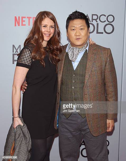 Actor Benedict Wong and guest attend the Marco Polo New York series premiere at AMC Lincoln Square Theater on December 2 2014 in New York City