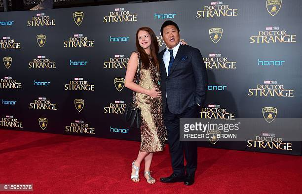 Actor Benedict Wong and guest pose for photographers at the world premiere of Marvel Studios 'Doctor Strange' in Hollywood California on October 20...