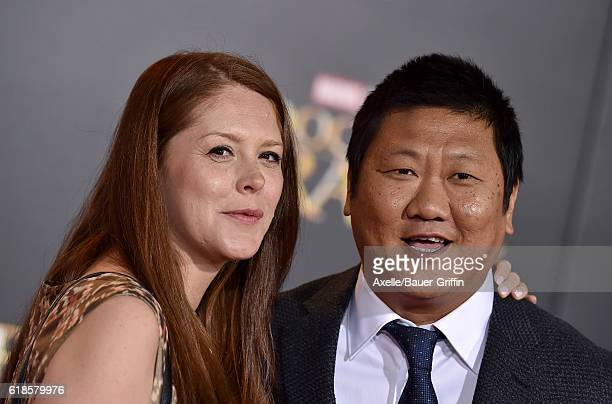Actor Benedict Wong and wife arrive at the Los Angeles Premiere of 'Doctor Strange' on October 20 2016 in Hollywood California