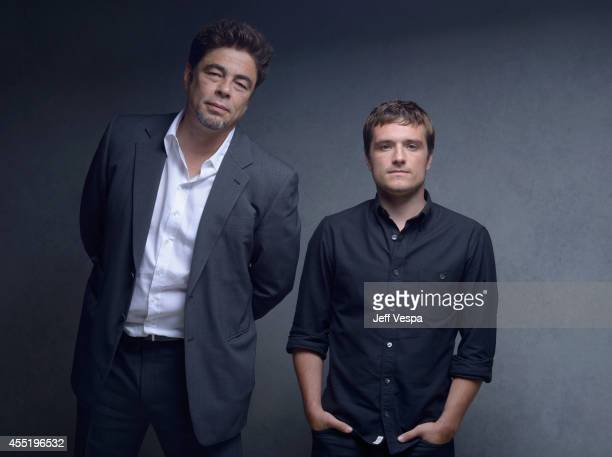Actor Benicio del Toro and actor Josh Hutcherson of Escobar Paradise Lost pose for a portrait during the 2014 Toronto International Film Festival on...