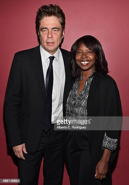 Actor Benicio del Toro and AFI FEST Director Jacqueline Lyanga attend 'A Conversation with Benicio Del Toro' during AFI FEST 2015 presented by Audi...