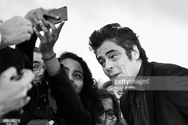 Actor Benicio del Toro attends 'Sicario' premiere at the Victoria Eugenia Theater during 63rd San Sebastian International Film Festival on September...