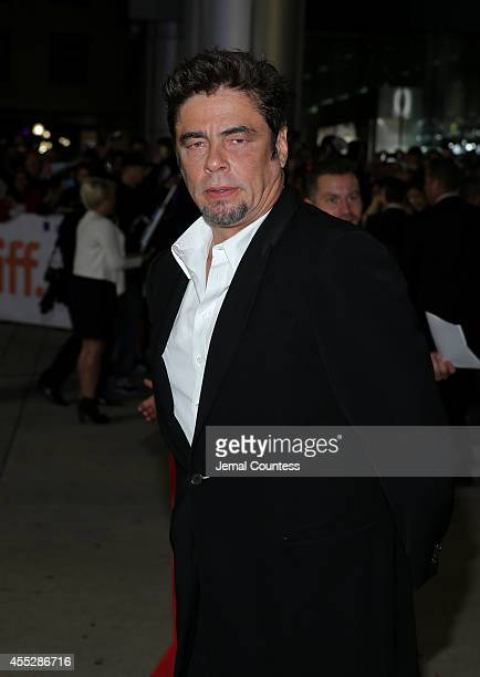 Actor Benicio del Toro attends the Escobar Paradise Lost premiere during the 2014 Toronto International Film Festival at Roy Thomson Hall on...