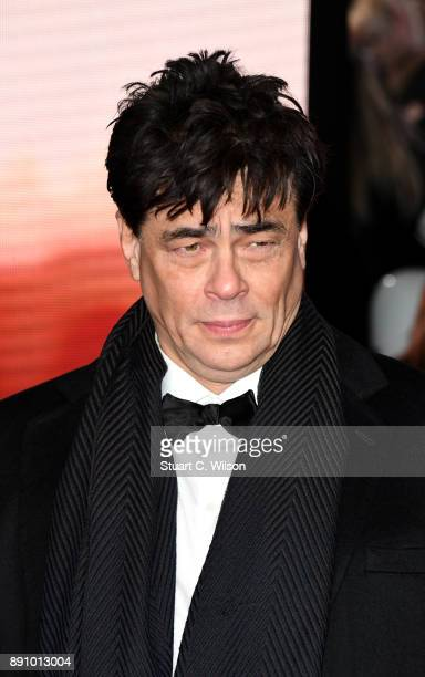 Actor Benicio Del Toro attends the European Premiere of 'Star Wars The Last Jedi' at Royal Albert Hall on December 12 2017 in London England