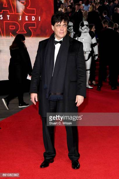 Actor Benicio Del Toro attends the European Premiere of 'Star Wars The Last Jedi' at Royal Albert Hall on December 12 2017 in London England