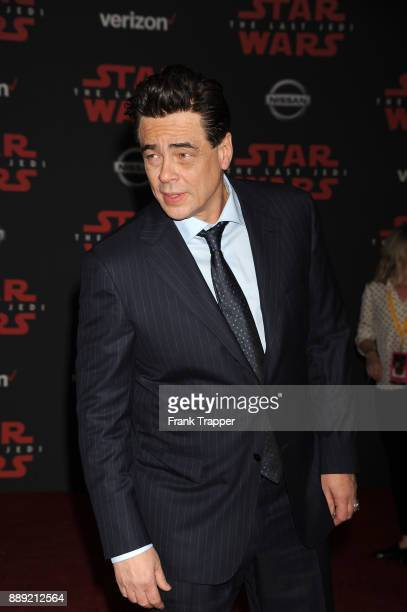 Actor Benicio Del Toro attends the premiere of Disney Pictures and Lucasfilm's 'Star Wars The Last Jedi' held at The Shrine Auditorium on December 9...